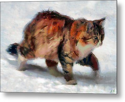 Winter Cat Metal Print