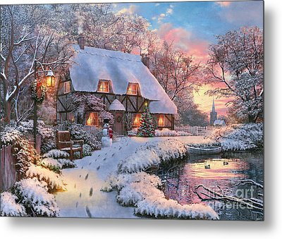 Winter Cottage Metal Print by 2015, Dominic Davison, Licensed by MGL, www.mgllicensing.com.