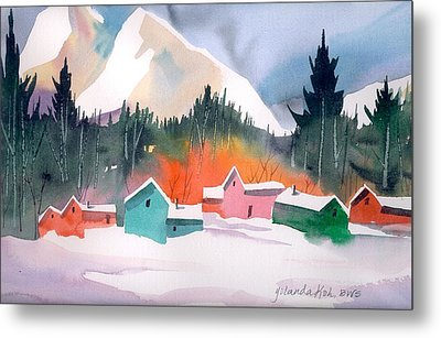 Metal Print featuring the painting Winter Cottages by Yolanda Koh