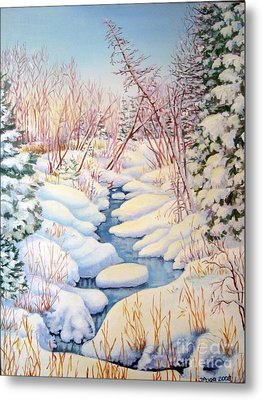 Metal Print featuring the painting Winter Creek 1  by Inese Poga