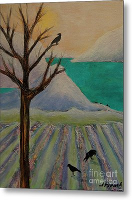 Winter Crows Metal Print by Jeanette French