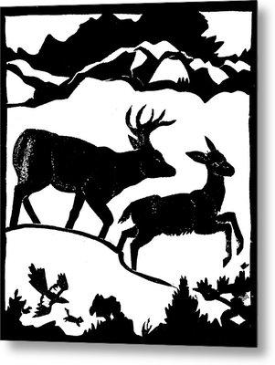 Winter Deer Linoleum Demo For Students Metal Print