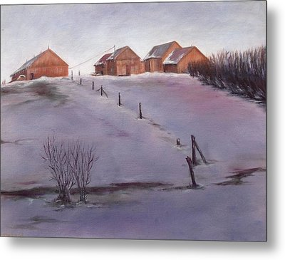 Metal Print featuring the painting Winter Dusk by Diane Daigle