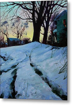 Metal Print featuring the painting Winter Evening Lights by Sergey Zhiboedov