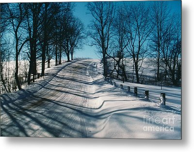 Winter Farmroads Metal Print by Jesse Ciazza