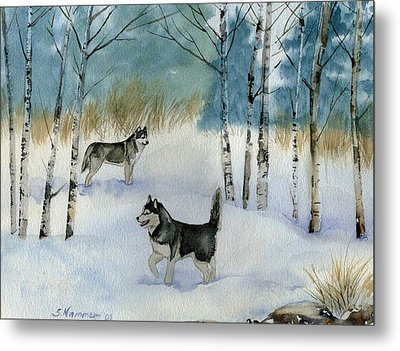 Metal Print featuring the painting Winter Frolic by Sharon Nummer