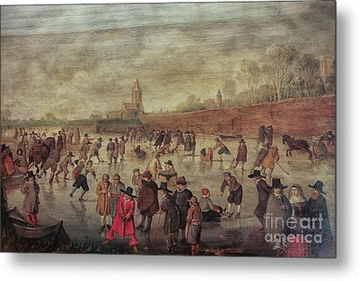 Metal Print featuring the photograph Winter Fun Painting By Barend Avercamp by Patricia Hofmeester