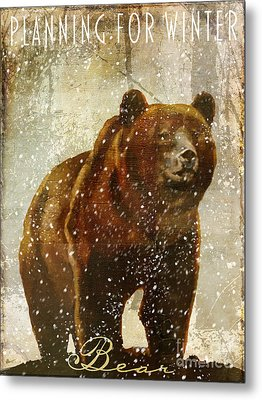 Winter Game Bear Metal Print