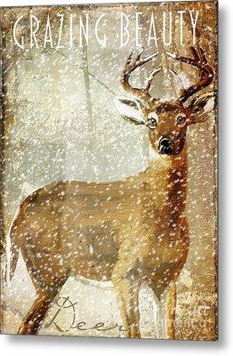 Winter Game Deer Metal Print by Mindy Sommers
