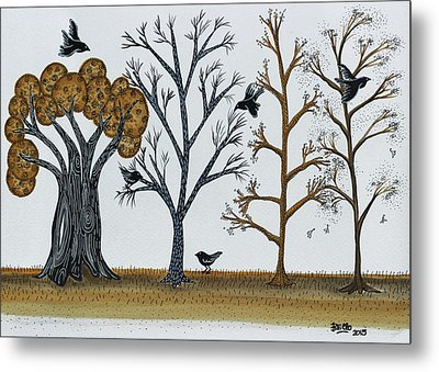 Blackbirds In The Winter Grove Metal Print by Graciela Bello
