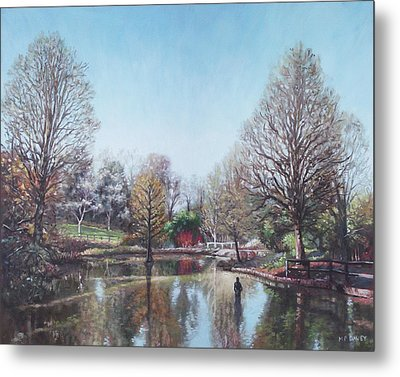 Metal Print featuring the painting Winter Hilliers Garden Hampshire by Martin Davey