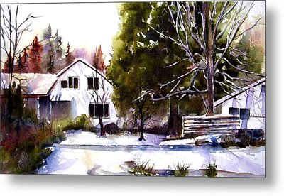 Metal Print featuring the painting Winter Homestead by Marti Green