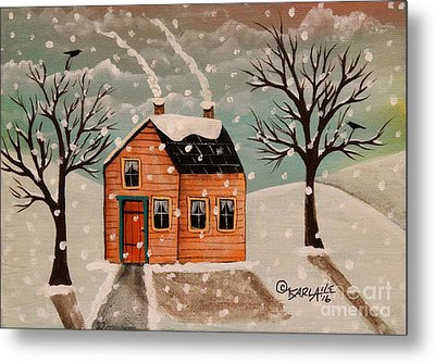 Winter House Metal Print