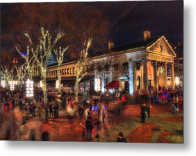 Winter In Boston - Quincy Market Metal Print