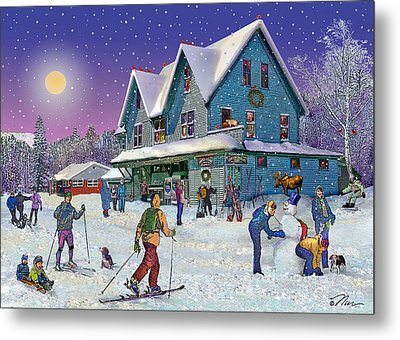 Winter In Campton Village Metal Print by Nancy Griswold