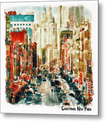 Winter In Chinatown - New York Metal Print by Marian Voicu