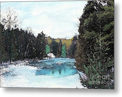 Metal Print featuring the mixed media Winter In Kalkaska by Desiree Paquette