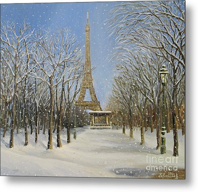 Winter In Paris Metal Print by Kiril Stanchev