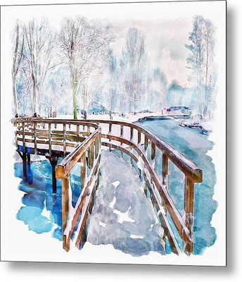 Winter In The Park Metal Print by Marian Voicu