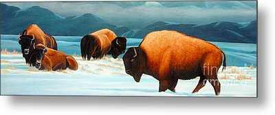 Winter In Yellowstone Valley Metal Print