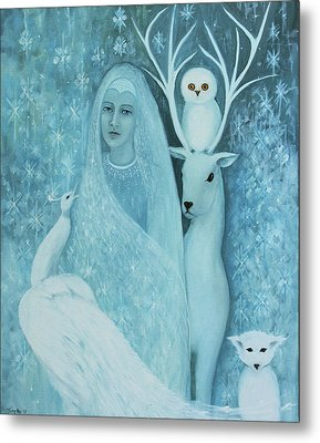 Winter Lady Metal Print