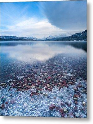 Winter Lake Rocks // Lake Mcdonald, Glacier National Park  Metal Print by Nicholas Parker