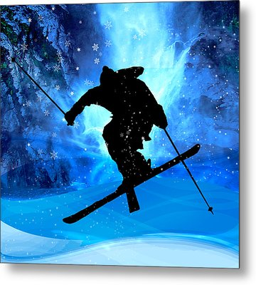Winter Landscape And Freestyle Skier Metal Print by Elaine Plesser