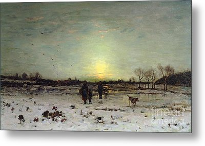 Winter Landscape At Sunset Metal Print