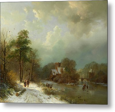 Metal Print featuring the painting Winter Landscape - Holland by Barend Koekkoek