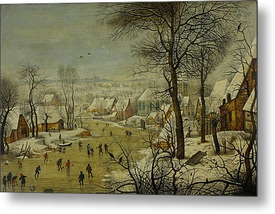 Winter Landscape With A Bird Trap Metal Print by Pieter Brueghel the Younger