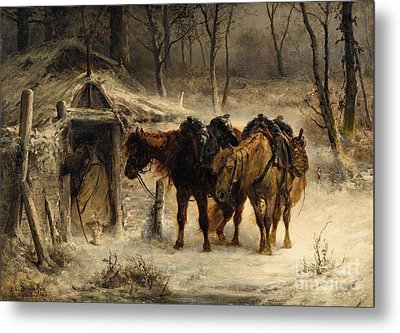 Winter Landscape With A Huntsman And Horses Metal Print by Celestial Images