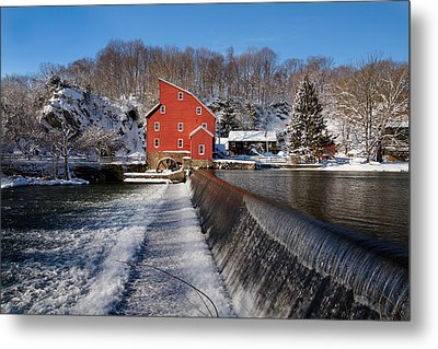 Winter Landscape With A Red Mill Clinton New Jersey Metal Print by George Oze