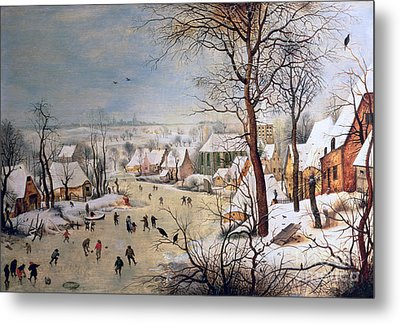 Winter Landscape With Birdtrap Metal Print
