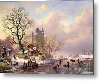 Winter Landscape With Castle Metal Print by Frederick Marianus Kruseman