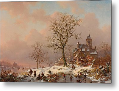 Winter Landscape With Figures Playing On The Ice Metal Print by Frederick Marianus Kruseman