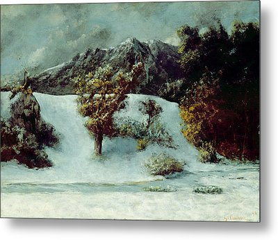 Winter Landscape With The Dents Du Midi Metal Print