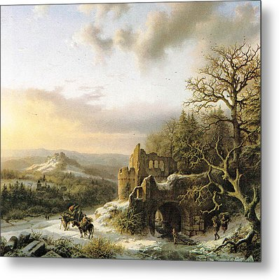 Winter Landscape With Peasants Gathering Wood Metal Print