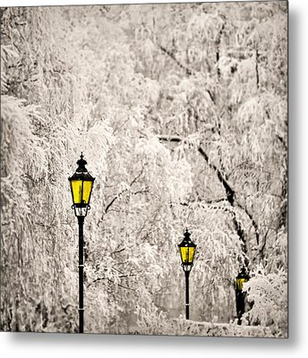 Winter Lanterns Metal Print