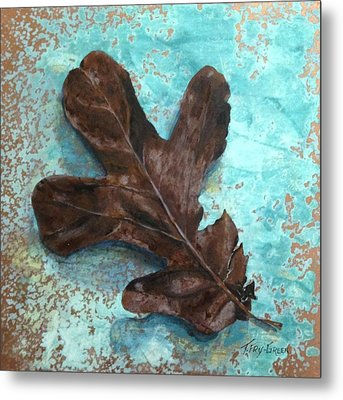 Winter Leaf Metal Print by T Fry-Green