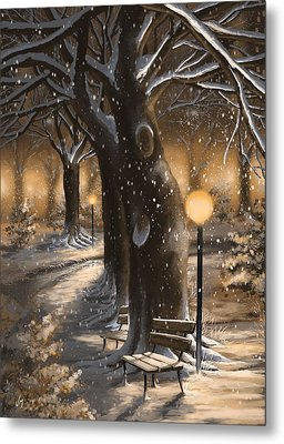 Metal Print featuring the painting Winter Magic by Veronica Minozzi