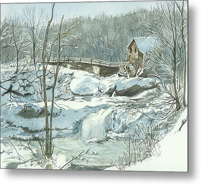 Winter Mill Metal Print