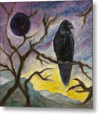 Winter Moon Raven Metal Print