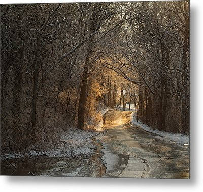 Winter Morning Road Metal Print