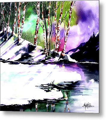 Metal Print featuring the painting Winter Mountain by Marti Green