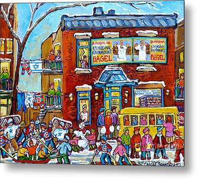 Winter Neighborhood Fun Fairmount Bagel Montreal Scene Hockey Art Montreal Memories Canadian Art   Metal Print