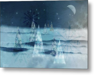 Winter Night Metal Print by AugenWerk Susann Serfezi