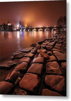 Winter Night Near Charles Bridge In Prague, Czech Republic Metal Print