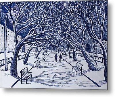 Winter Night.on The Walkway In The Park. Metal Print by Olga Goncharenko