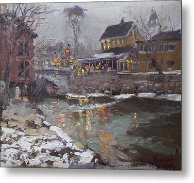 Winter Nocturne In Williamsville Metal Print by Ylli Haruni