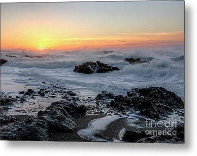 Winter Ocean At Sunset Metal Print by Masako Metz